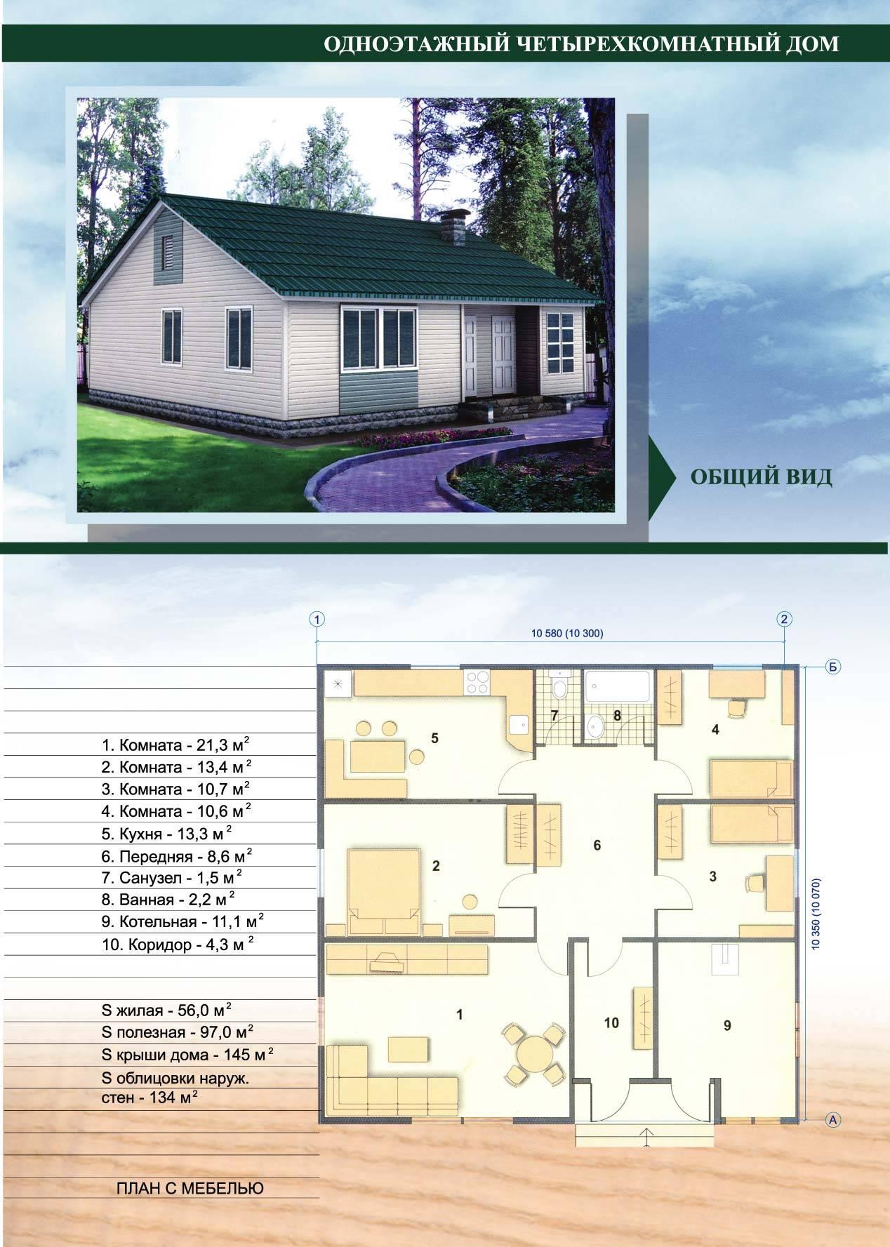Проекты домов 8 на 10 одноэтажные фото